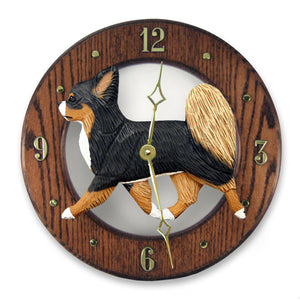 Chihuahua longhair Dog Dark Oak Hand Crafted Wall Clock Fawn and White