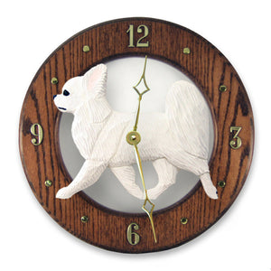 Chihuahua longhair Dog Dark Oak Hand Crafted Wall Clock Tri Color
