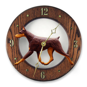 Doberman Dog Dark Oak Hand Crafted Wall Clock Red and Tan