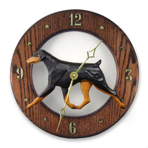 Doberman Natural Dog Dark Oak Hand Crafted Wall Clock Black and Tan