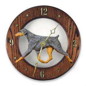 Doberman Natural Dog Dark Oak Hand Crafted Wall Clock Blue and Tan