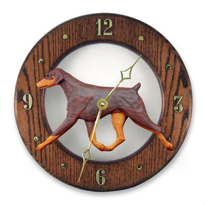 Doberman Natural Dog Dark Oak Hand Crafted Wall Clock Red and Tan