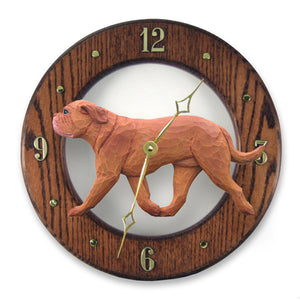Dogue de bordeaux Dog Dark Oak Hand Crafted Wall Clock