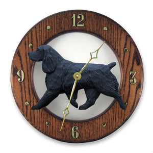 Field spaniel Dog Dark Oak Hand Crafted Wall Clock Black