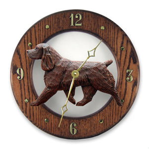 Field spaniel Dog Dark Oak Hand Crafted Wall Clock Liver