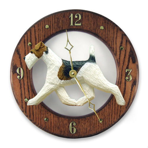 Fox terrier wire Dog Light Oak Hand Crafted Wall Clock