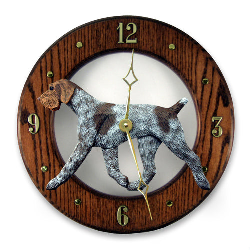 German wirehaired pointer Dog Light Oak Hand Crafted Wall Clock
