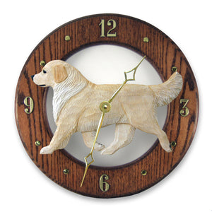 Golden retriever Dog Dark Oak Hand Crafted Wall Clock Cream