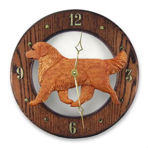 Golden retriever Dog Dark Oak Hand Crafted Wall Clock Dark