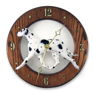 Great dane Natural Dog Dark Oak Hand Crafted Wall Clock Harlequin