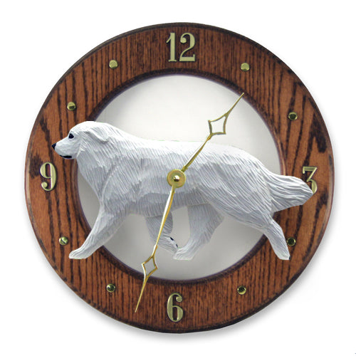 Great pyrenees Dog Light Oak Hand Crafted Wall Clock