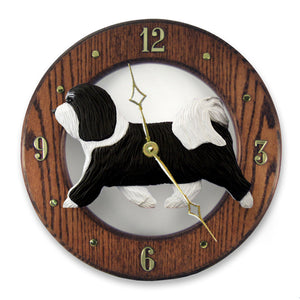 Havanese Dog Dark Oak Hand Crafted Wall Clock Black and White