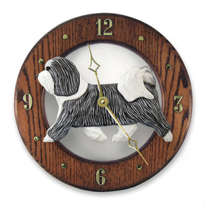 Havanese Dog Dark Oak Hand Crafted Wall Clock Grey and White