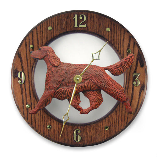 Irish setter Dog Light Oak Hand Crafted Wall Clock