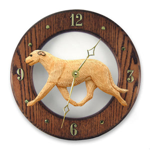 Irish wolfhound Dog Dark Oak Hand Crafted Wall Clock Fawn