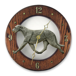 Irish wolfhound Dog Dark Oak Hand Crafted Wall Clock Grey