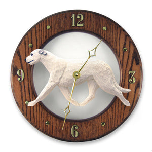 Irish wolfhound Dog Dark Oak Hand Crafted Wall Clock White