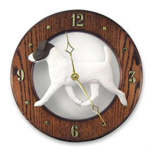 Jack russell terrier Dog Dark Oak Hand Crafted Wall Clock Black and White