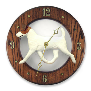 Jack russell terrier Dog Dark Oak Hand Crafted Wall Clock Brown and White