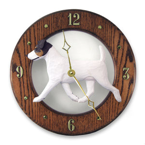 Jack russell terrier Dog Dark Oak Hand Crafted Wall Clock Tri Color
