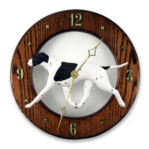 English pointer Dog Dark Oak Hand Crafted Wall Clock Black and White