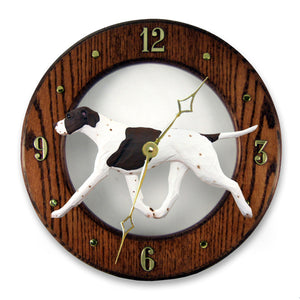 English pointer Dog Dark Oak Hand Crafted Wall Clock Liver and White