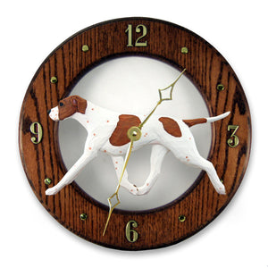 English pointer Dog Dark Oak Hand Crafted Wall Clock Orange and White