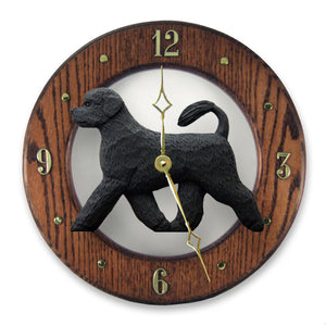 Portuguese water Dog Dark Oak Hand Crafted Wall Clock Black