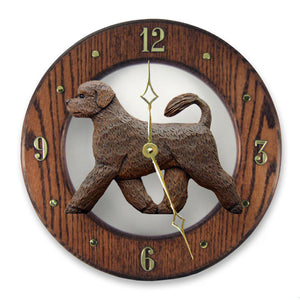 Portuguese water Dog Dark Oak Hand Crafted Wall Clock Brown