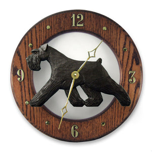 Schnauzer Natural Dog Dark Oak Hand Crafted Wall Clock Black