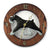 Schnauzer Natural Dog Dark Oak Hand Crafted Wall Clock Black and Silver