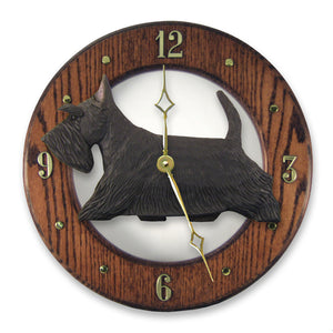 Scottish terrier Dog Dark Oak Hand Crafted Wall Clock Black