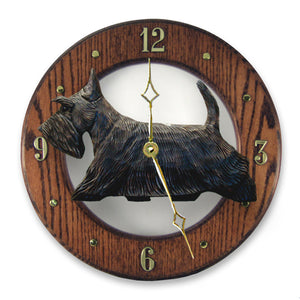 Scottish terrier Dog Dark Oak Hand Crafted Wall Clock Brindle
