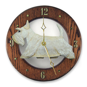Scottish terrier Dog Dark Oak Hand Crafted Wall Clock Wheaten