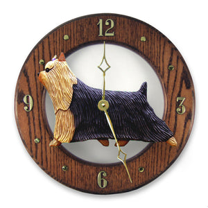 Yorkshire terrier Dog Dark Oak Hand Crafted Wall Clock