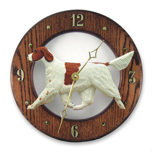 Irish red and white setter Dog Dark Oak Hand Crafted Wall Clock