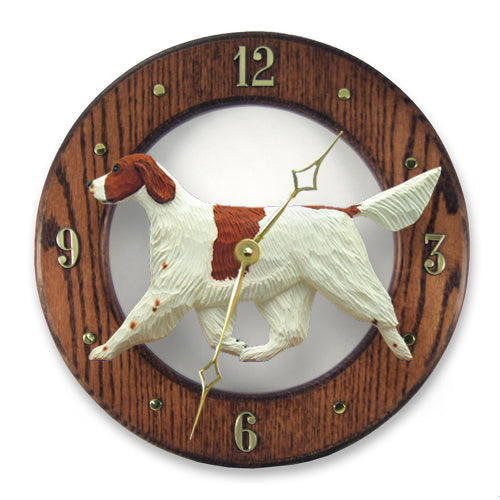 Irish red and white setter Dog Light Oak Hand Crafted Wall Clock