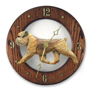 Brussels griffon Natural Dog Dark Oak Hand Crafted Wall Clock Beige