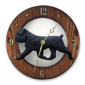 Brussels griffon Natural Dog Dark Oak Hand Crafted Wall Clock Black