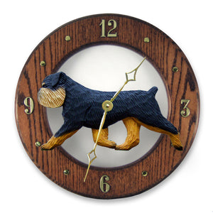 Brussels griffon Natural Dog Dark Oak Hand Crafted Wall Clock Black and Tan