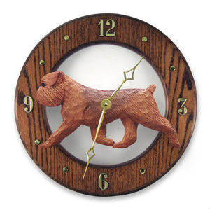 Brussels griffon Natural Dog Dark Oak Hand Crafted Wall Clock Red