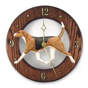 English foxhound Dog Dark Oak Hand Crafted Wall Clock Tri Color