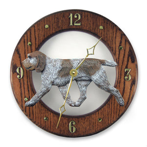 Spinone italiano Dog Dark Oak Hand Crafted Wall Clock Brown Roan