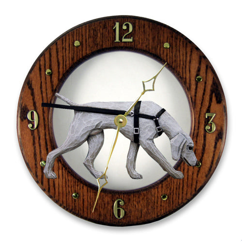 Weimaraner tracking Dog Dark Oak Hand Crafted Wall Clock