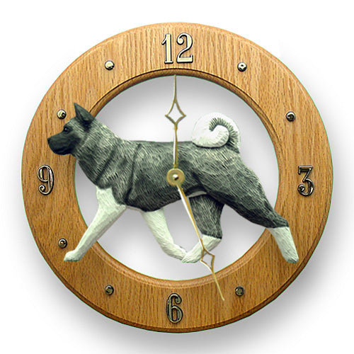 Akita Dog Light Oak Hand Crafted Wall Clock Fawn