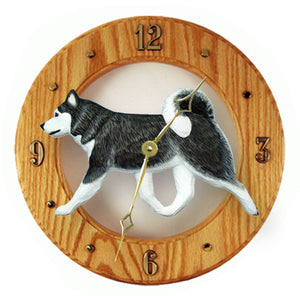 Alaskan malamute Dog Light Oak Hand Crafted Wall Clock Black and White
