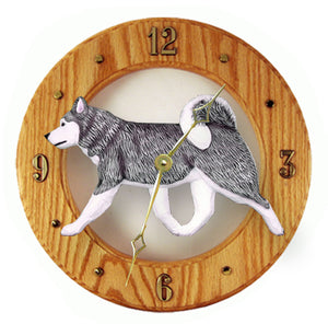 Alaskan malamute Dog Light Oak Hand Crafted Wall Clock Grey and White