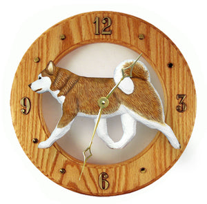 Alaskan malamute Dog Light Oak Hand Crafted Wall Clock Red and White