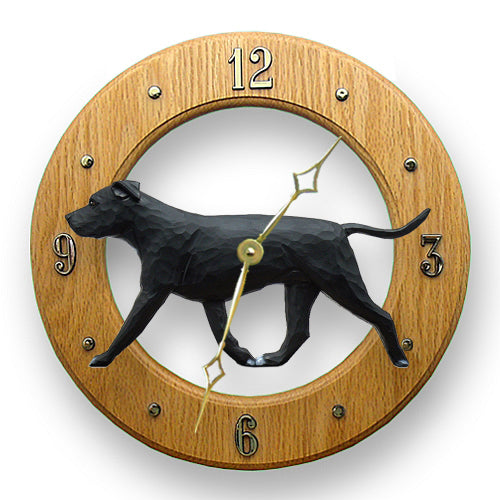 American staffordshire terrier Natural Dog Light Oak Hand Crafted Wall Clock Black