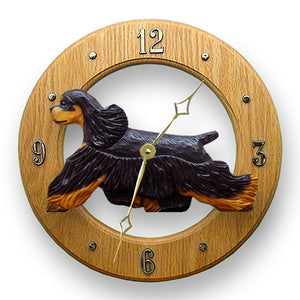 American cocker spaniel Dog Light Oak Hand Crafted Wall Clock Black and Tan